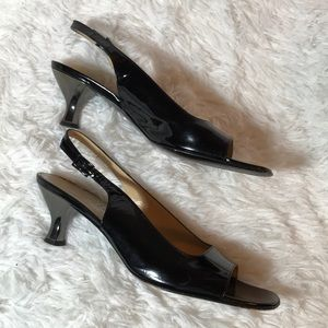 Salvatore Ferragamo Black Silver 9.5 Slingbacks